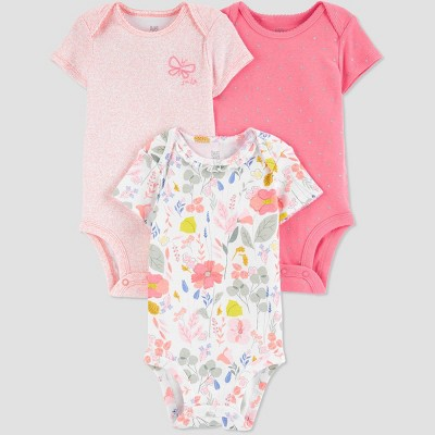 Baby Girls' 3pk Butterfly Floral Bodysuit - Just One You® made by carter's Pink Newborn