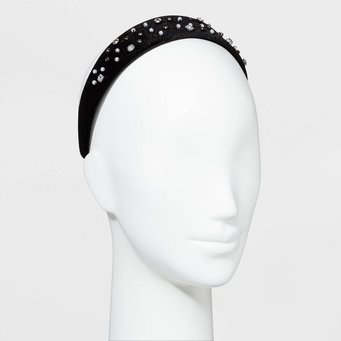 Velvet with Crystals and Pearls Headbands - A New Day™ Black - image 1 of 1