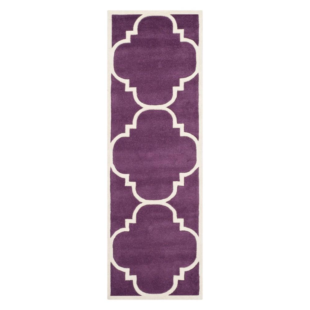 23X7 Quatrefoil Design Tufted Runner Purple/Ivory - Safavieh Top