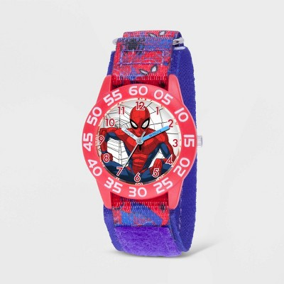 Kids' Marvel Spider-Man Plastic Time Teacher Watch - Blue