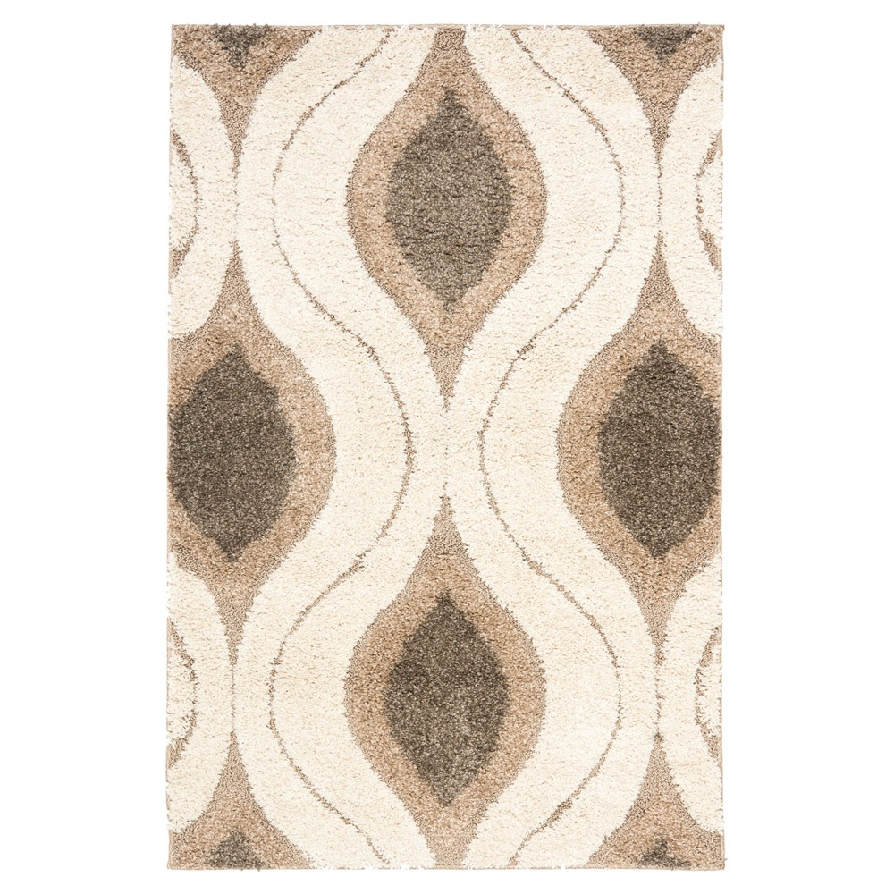 Cream/Smoke Abstract Tufted Accent Rug - (3'3