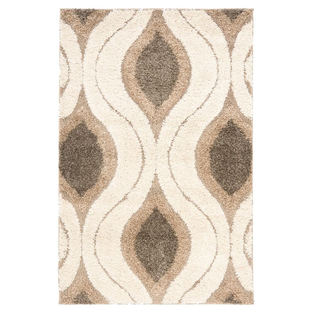 Cream/Smoke Abstract Tufted Area Rug - (4'X6') - Safavieh, Off-White Gray