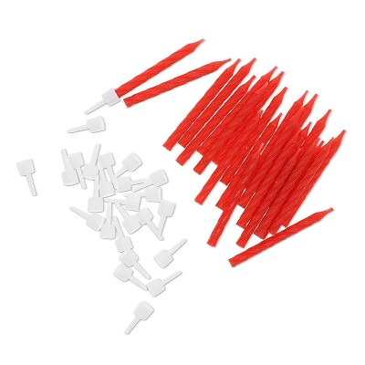 Blue Panda 288-Pack Red Glitter Short Thin Birthday Cake Candles 2.36-Inch with Holders