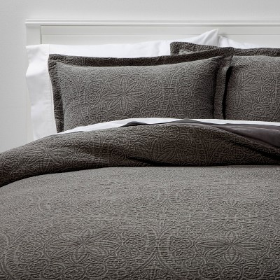 Full/Queen Matelasse Medallion Duvet Cover & Sham Set Washed Dark Gray - Threshold™