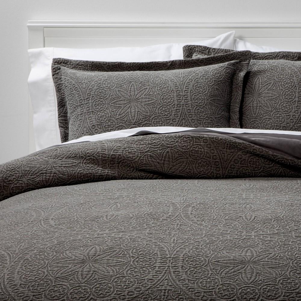 King Matelasse Medallion Comforter 38 Sham Set Washed Dark Gray Threshold 8482