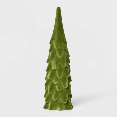 Large Flocked Velvet Christmas Tree Decorative Figurine Green - Wondershop™
