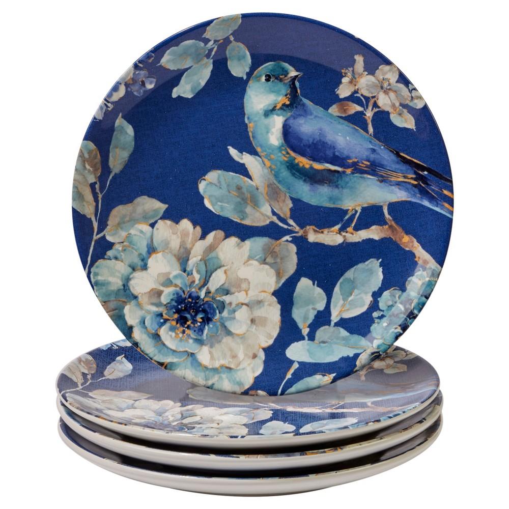 Certified International Indigold Lisa Audit Ceramic Salad Plates 9 Blue - Set of 4