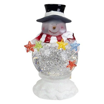 """Northlight 7.5"""" White Battery Operated LED Snowman Glittering Snow Dome Christmas Tabletop Decor"""