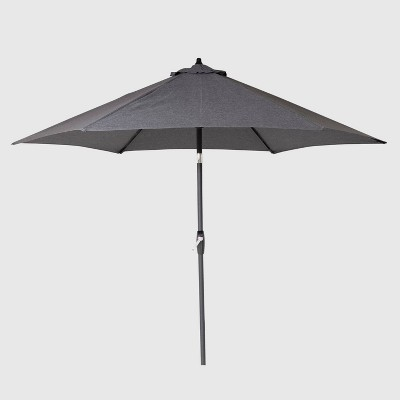 9' Round Patio Umbrella Charcoal - Black Pole - Threshold™