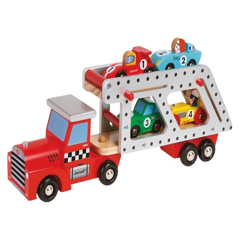 Janod Transporter Lorry with 4 Racing Cars - image 1 of 2