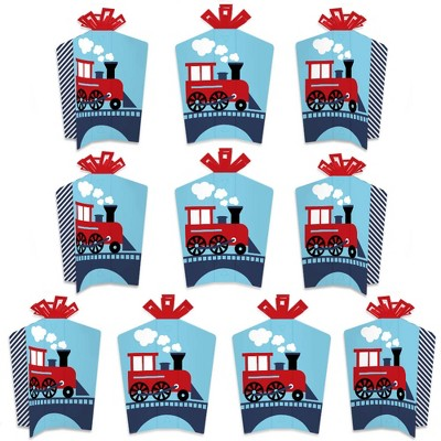 Big Dot of Happiness Railroad Party Crossing - Table Decorations - Steam Train Birthday Party or Baby Shower Fold and Flare Centerpieces - 10 Count