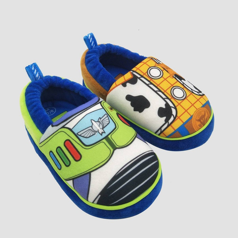 Image of Toddler Boys' Pixar Toy Story Loafer Slippers - Blue L(9-10), Boy's, Size: Large (9-10)