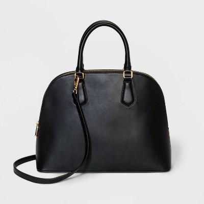 Zip Closure Dome Satchel Handbag - A New Day™ Black