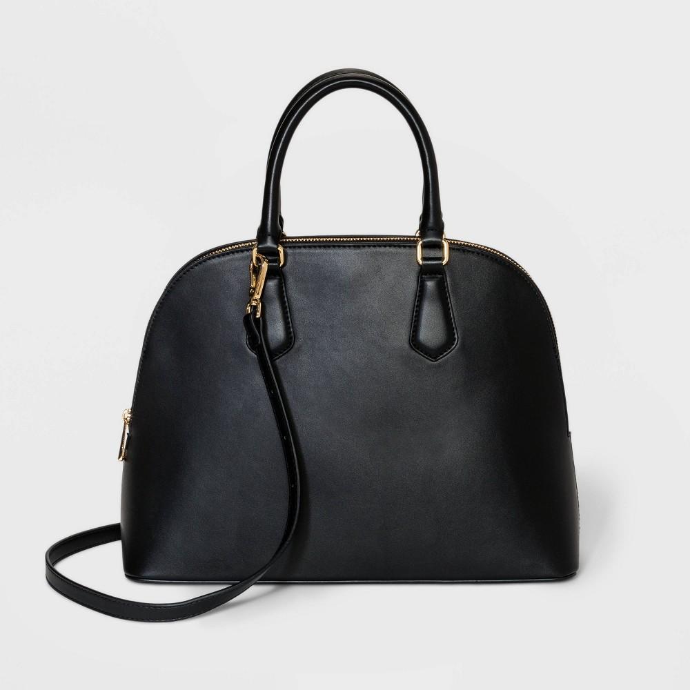 Zip Closure Dome Satchel Handbag A New Day 8482 Black