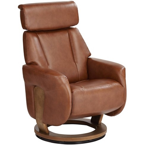 Benchmaster Augusta Brown Faux Leather, Club Chair Recliner Swivel