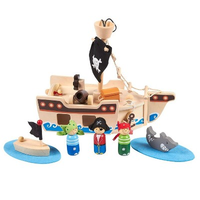 11 Piece Ocean-Themed Pirate Toys and Kids Pirate Ship Wooden Playset for Kids