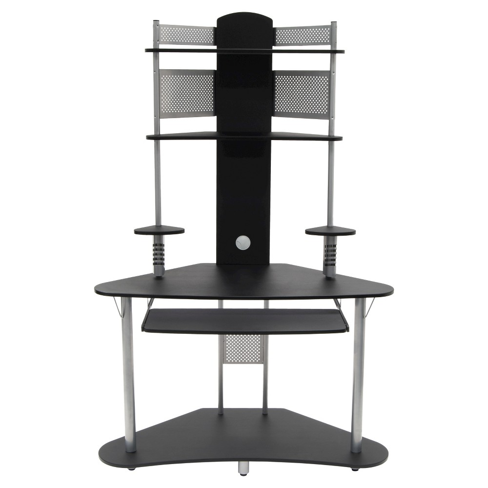 Image of Element Corner Computer Tower With Hutch Silver/Black - Calico Designs