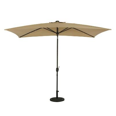 10' x 6.5' Rectangular Nassau Market Patio Umbrella with LED Bulb Lights Champagne - Island Umbrella