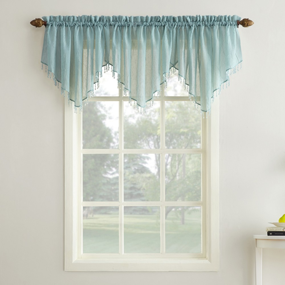 Erica Crushed Sheer Voile Beaded Ascot Curtain Valance Mi...