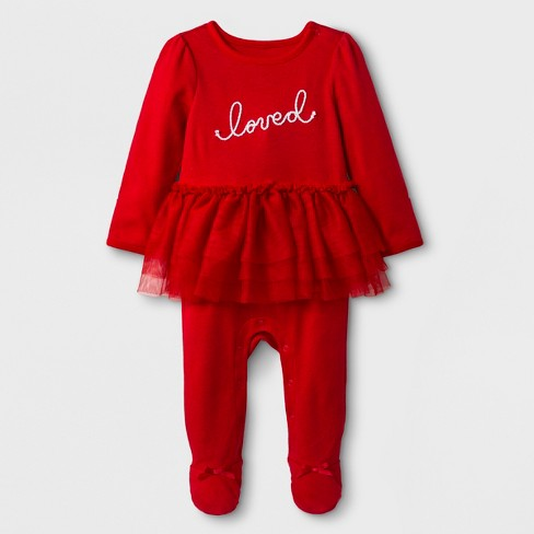 bc0e7e92e Baby Girls  Loved Footed Tutu Sleeper - Cat   Jack™ Red   Target