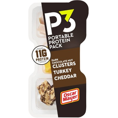 Oscar Mayer P3 Roasted Turkey, Cheddar Cheese & Dark Chocolate Peanut Almond Nut Clusters - 2oz