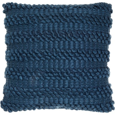 Woven Stripes Oversize Square Throw Pillow Navy - Mina Victory