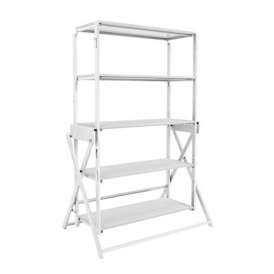 Origami 2 in 1 Multifunctional 52 Inch Tall Wooden Display Storage Shelf To 60 Inch Long Table Desk Unit for Indoor and Outdoor Spaces, White