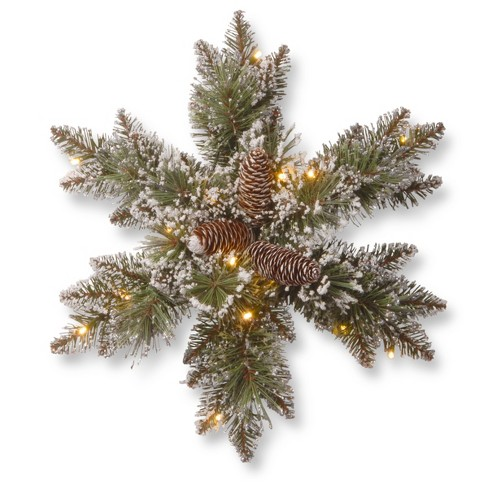 "18"" Glittery Bristle Pine Snowflake with Battery Operated Warm White LED Lights - National Tree Company - image 1 of 2"