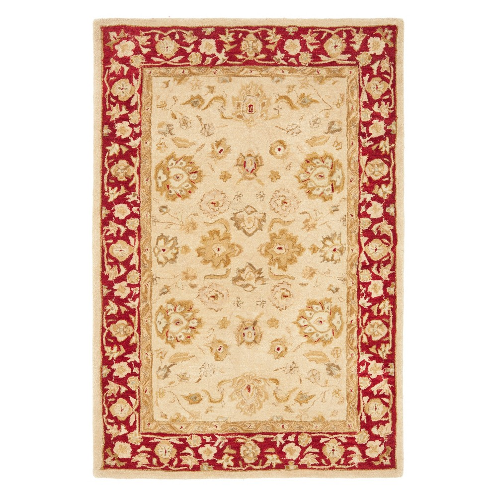 4'X6' Floral Area Rug Ivory/Red - Safavieh