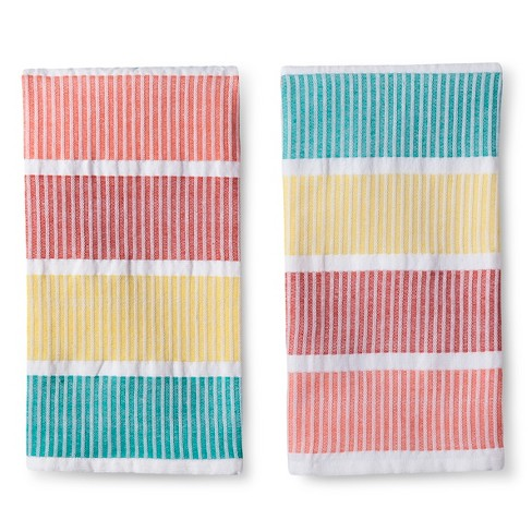 Summer Color Blocked Kitchen Towel - Multi-Colored (2 Pack) - image 1 of 1
