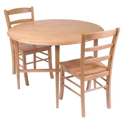 3pc Hannah Dining Set Wood/Light Oak - Winsome