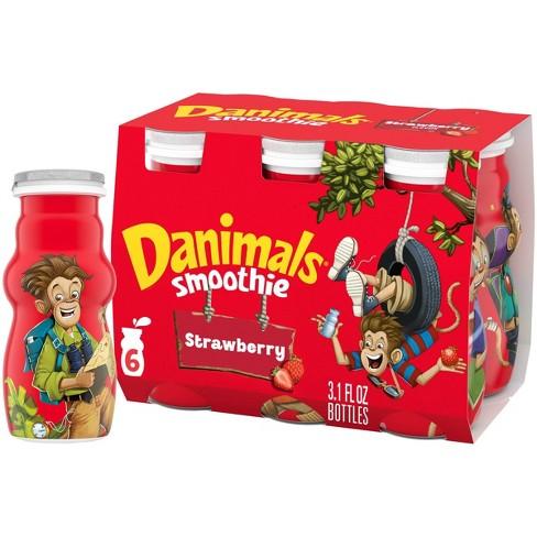 Danimals Strawberry Explosion Kids' Smoothies - 6ct/3.1 fl oz Bottles - image 1 of 4