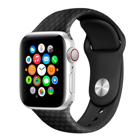 Insten Soft TPU Rubber Band 44mm 42mm For Apple Watch Series 5 4 3 2 1 Replacement 3D Grain Black - image 1 of 4