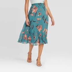 Women's Floral Print High-Rise Pleated A-Line Midi Skirt - A New Day™ Blue