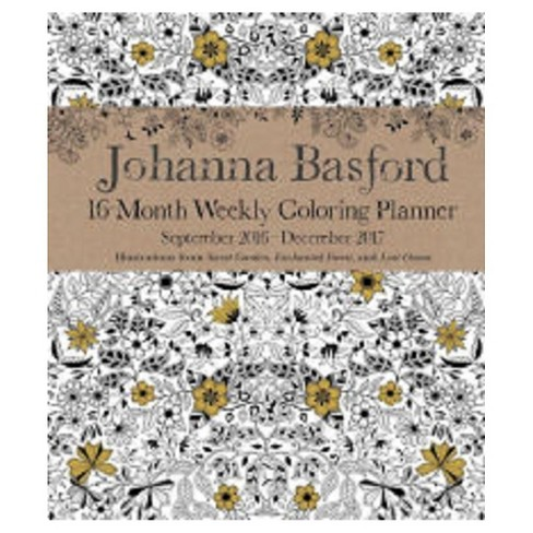 johanna basford 2016 2017 coloring weekly planner calendar target
