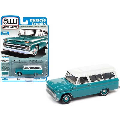 "1965 Chevrolet Suburban Light Green with White Top ""Muscle Trucks"" Ltd Ed 14704 pcs 1/64 Diecast Model Car by Autoworld"