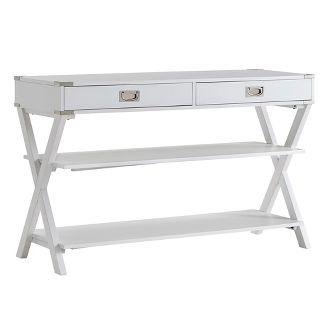 Borden Campaign Sofa Table & TV Stand - White - Inspire Q