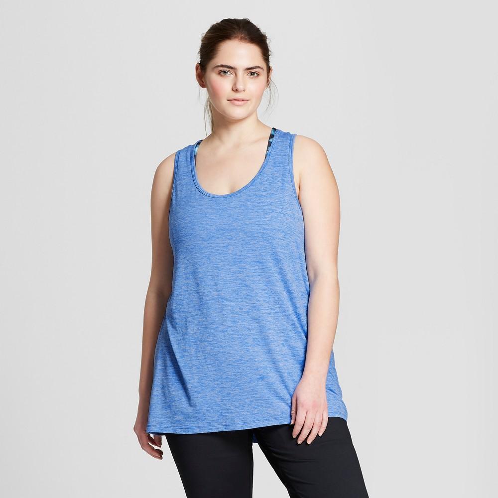 Women's Plus-Size Core Long Tank Top - C9 Champion Groove Blue Heather 3X