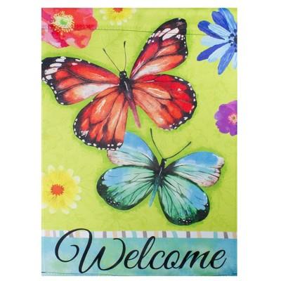"Northlight Welcome Butterflies Green Outdoor Garden Flag 12.5"" x 18"""
