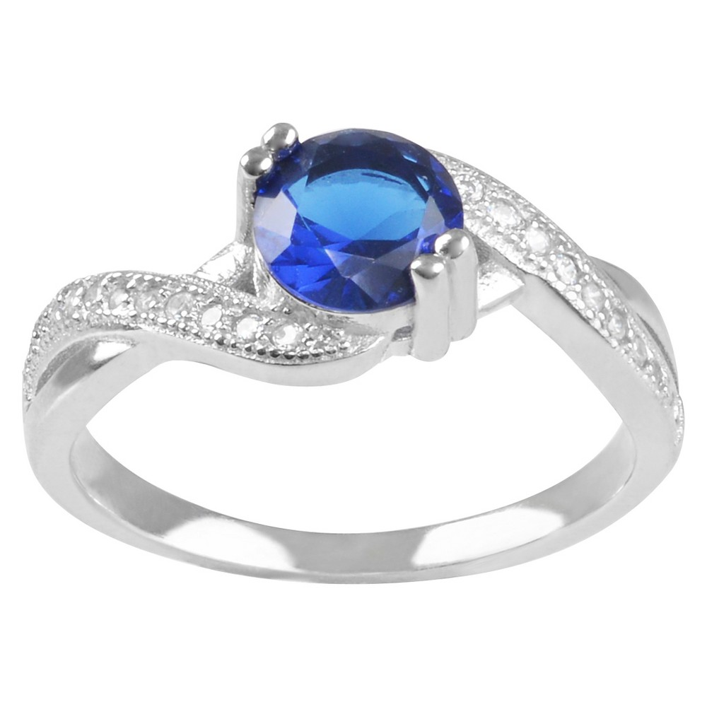1 1/5 CT. T.W. Round-cut Cubic Zirconia Twist Accent Prong Set Ring in Sterling Silver - Blue, 8, Girl's