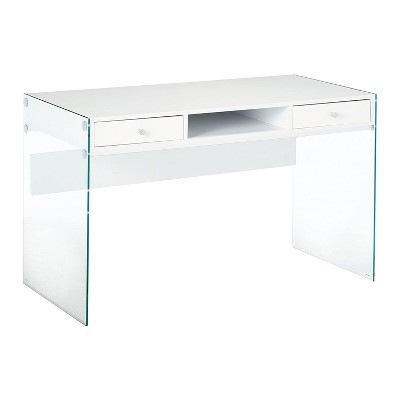 Coaster Home Furniture Dobrev 2 Drawer Glossy Office Writing Study Desk Laptop Table with 2 Storage Drawers and Silver Hardware Finish, White & Clear