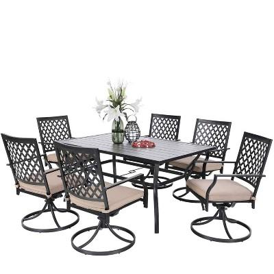 "7pc Patio Set with 37"" Table & Diamond Back Swivel Arm Chairs - Captiva Designs"