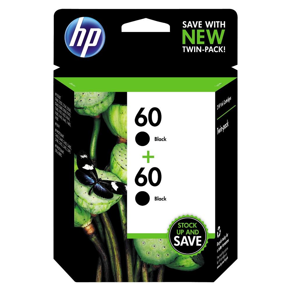 HP 60 2pk Ink Cartridges - Black (CZ071FN#140), Black (60 2pk)