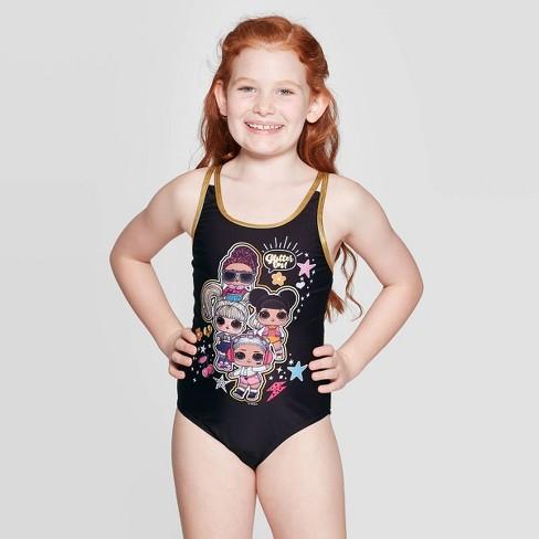 Girls' L.O.L. Surprise! One Piece Swim Suit - Black - image 1 of 3