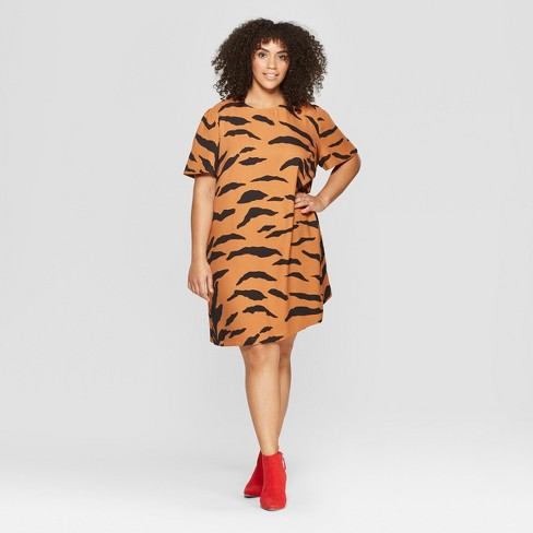 Women's Plus Size Tiger Print Short Sleeve A-Line Mini Dress - Who What Wear™ Yellow - image 1 of 3