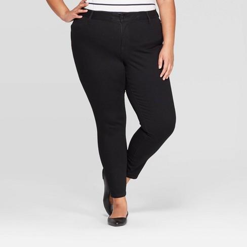 Women's Plus Size Jeggings with Comfort Elastic Waist - Ava & Viv™ Black - image 1 of 3