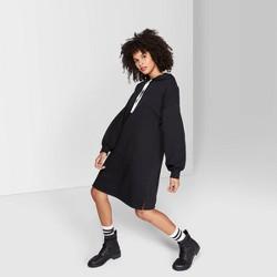 Women's Long Sleeve Hooded Sweatshirt Dress - Wild Fable™ Black