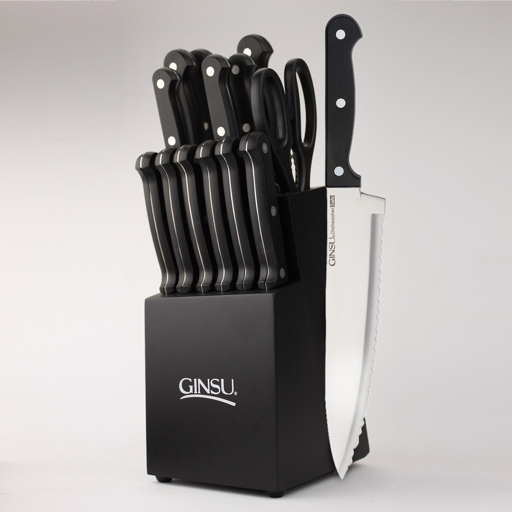 Image of Ginsu Stainless Steel Serrated Knife Set 14pc with Black Kitchen Knives in a Black Block