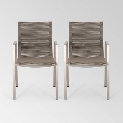 Deloris 2pk Aluminium Dining Chairs - Christopher Knight Home