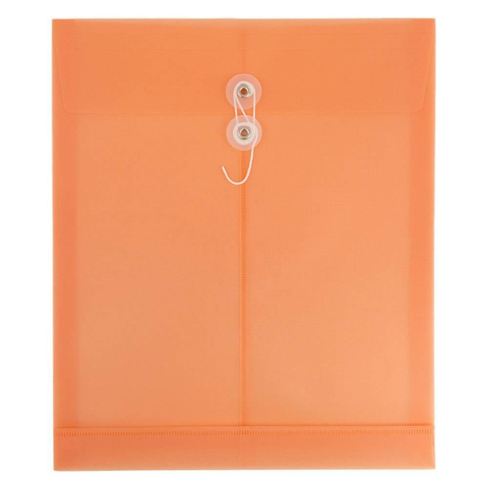 Jam Paper 9 3/4'' x 13'' 12pk Plastic Envelopes with Button & String Closure, Letter Open End - Peach, Pantry Peach